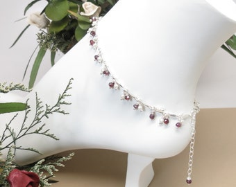 Garnet Freshwater Pearl Anklet, January And June Birthstone, Dark Red Birthstone Anklet In Sterling Silver, Gemstone Anklet, 9-10.25 Inches