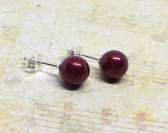 Dark Red Pearl Studs, Crimson Pearl Stud Earrings, Pearl Post Earrings, Swarovski Pearl Studs, Bordeaux Red Pearls, Pearl Studs