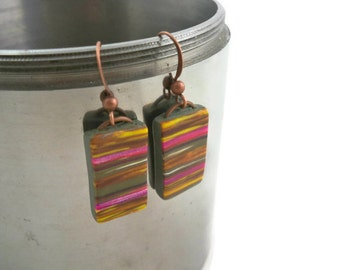 Colorful dangle earrings striped polymer clay lightweight earrings