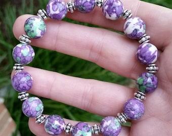 Purple Rain Flower jasper  bracelet 10mm Healing stone stackable jewelry Stretchy Bracelet