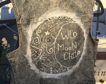 Medium,  Upcycled Jeans Jacket , Moon child, Bohemian, gypsy
