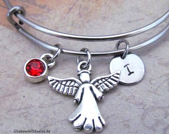 Angel Bangle Personalized Hand Stamped Initial Birthstone Antique Silver Angel Charm Stainless Steel Expandable Bangle Bracelet