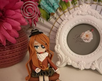 """Polymer clay doll photo holder """"Jackie"""""""