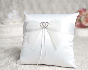 Rhinestone Hearts Wedding Ring Bearer Pillow - 75335