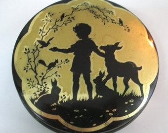 Silhouette Vintage Tin woodland Boy with deer fawn and rabbit birds Forest scene Wilkin Ltd Cremona Red boy toffee Black Gold
