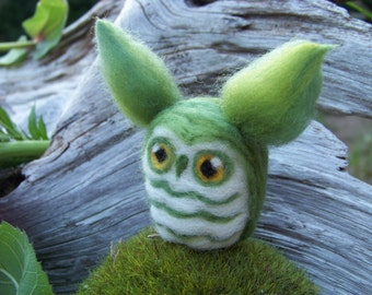 Needle Felted Green Great Horned Caffeinated Owl