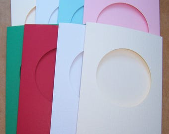 """Card Blanks, 5 round aperture cards, greeting cards blanks with 5 white envelopes, Aperture cards, 8 x 6 """", assorted colors"""