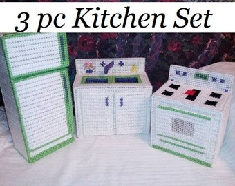 Digital Pattern: Barbie Doll Fashion Doll Kitchen Set 7 ct Plastic Canvas