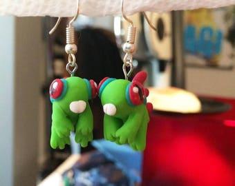 Colorful frog people earrings