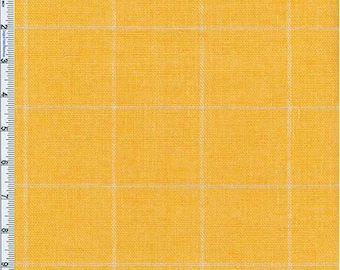 Golden Yellow Windowpane Plaid Home Decor Linen, Fabric By The Yard