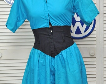 Vintage 80s Womens Colorblock Romper Jumpsuit Cornflower Blue Black Totally Rad Valley Girl Cinched Waist Theater Costume Jamie Small Shorts