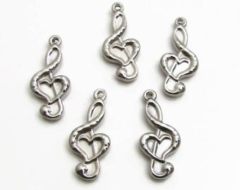 Treble Clef Heart Charm, Stainless Steel Music Note - Set of 5 SST Findings 9.50x21.50x3mm, Treble Clef Charm, Music Charm