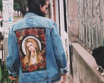 Custom Painted Denim// La Virgen de las Rosas