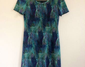 90s Dress Textured Short Sleeve