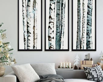 Birch Tree Painting, Set of 3, Aspen Tree Painting, Landscape Painting, Birch Trees, Aspen Trees, Trees Painting, Wall Art, Tree Prints