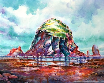 Spring Colors at Haystack Rock - Watercolor Painting Print by Michael David Sorensen. Cannon Beach, Oregon Coast Art. Orange. Cyan. Purple.