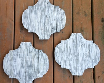 Quatrefoil wood 3 piece sign set.  Rustic wall decor. Rustic sign set. Entryway decor. Gray white Master bedroom sign. Kitchen sign pallet