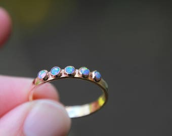 Multi Opal Ring in Fine Silver - 14K yellow gold filled - 14K pink (rose) gold filled - multi birthstone ring - birthstone ring