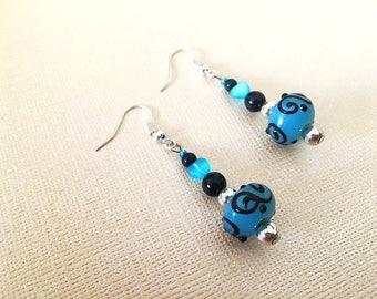 Glass Earrings, Blue Earrings, Lampwork Earrings, Blue Glass Earrings, Black Earrings, Handmade Earrings by JustDreaminCo