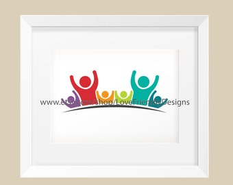 Clip Art to Print or Web. People Logo Dad Mom and Children. Concept for a Children Nursery, Lovely Kids, Friendship, Teamwork, Family, Logo