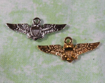 """Choice of 10 Gold Plated or Silver Tone Pilot """"Wings"""" Charms 19 x 30mm (B203b/d)"""