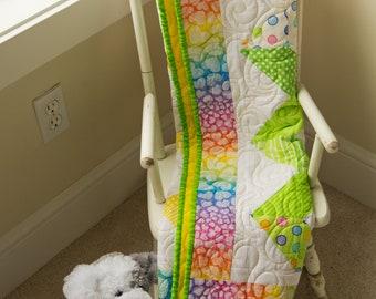 Baby or Toddler Girl  Modern Minky Quilt, Baby Shower, Birthday Gift, ~40x 40 Handmade Quilt