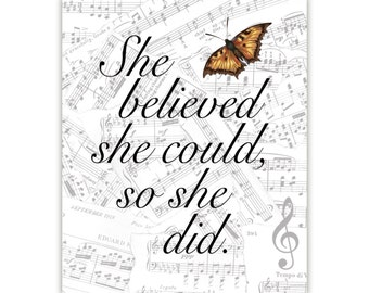 Inspirational Quote Wall Art, She Believed She Could, typography, Custom Quote, canvas art, Quote Wall art, graduation present, music art