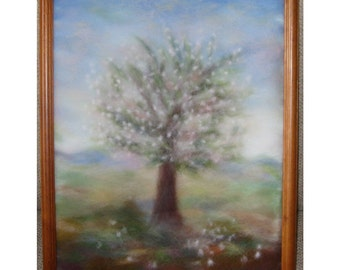 Cherry tree in bloom - wool fiber art, wall hanging, wool picture