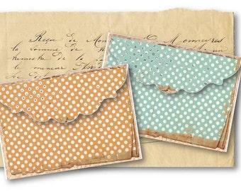 Shabby Polka Dot Envelopes Digital Collage Sheet Download -547- Digital Paper - Instant Download Printables