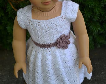 18 inch Doll Clothes, Sunrise Sunday Dress, White Dusty Rose, crochet dress, MADE TO ORDER, fits American Girl Doll
