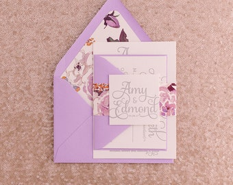 Letterpress Printing - Vertical Lavender Watercolor Floral Wedding Invitations - SAMPLE (ADELE)