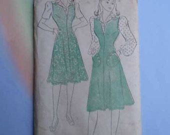 Vintage 40s Jumper with Puff Sleeve Blouse Unused Pattern 32 Bust