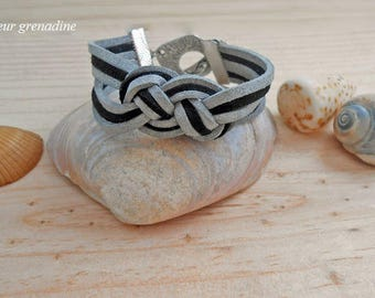 Bracelet suede sailor knot, birthday gift idea