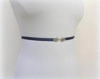 Navy blue elastic waist belt. Silver filigree belt. Dark blue belt. Dress belt. Skinny belt. Thin belt. Birdal belt. Birdesmaid belt.