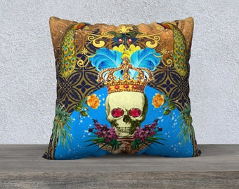Skull and Crown  with Blue Feathers  Pillow Cover