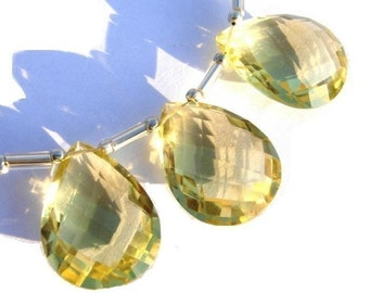 20x15mm Trio of AAA Genuine Lemon Quartz faceted pear shaped briolettes matched pair and a focal pendant