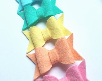 Felt Hair Clippies in Pastel Colors
