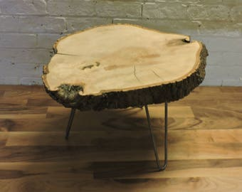 Live Edge Round Coffee Table with Hairpin Legs