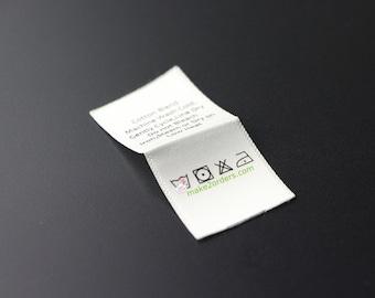 100 Printing Labels, Printed Satin Tags, Clothing Name Labels, Clothing Labels, Make Custom Labels, Custom Shirt Labels, Free Post Ship.