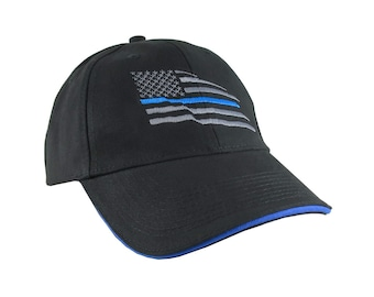 American Thin Blue Line Wavy US Flag Embroidery Adjustable Black Structured Classic Blue Trim Baseball Cap with Option to Personalize Back