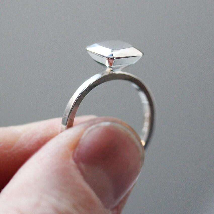Alternative engagement ring modern engagement ring silver