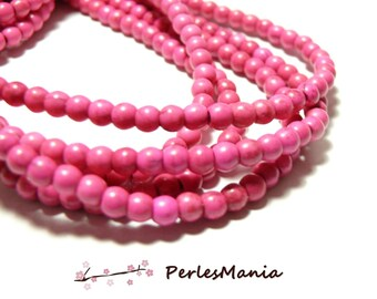 1 strand of approximately 110 beads round 4mm Howlite P02K pink flashy for creation and scrapbooking