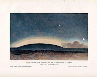 1900 NORTHERN LIGHTS LITHOGRAPH -  original antique print - celestial astronomy