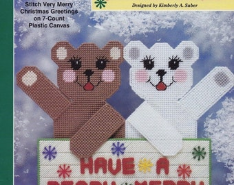 Beary Merry Christmas, The Needlecraft Shop Plastic Canvas Pattern Leaflet 983008 Holiday Greeting Sign