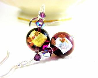 Purple Murano Earrings, Amethyst Glass Earrings, Venetian Murano Earrings, Italian Glass Earrings, Murano Jewelry, Beaded Earrings - Royalty