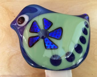 Fused glass bird nightlight