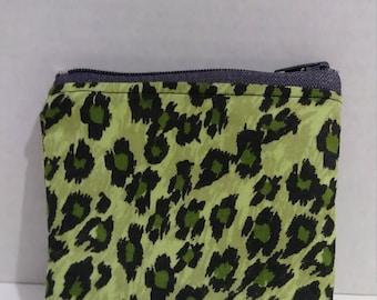 Green & black animal print coin or card purse.