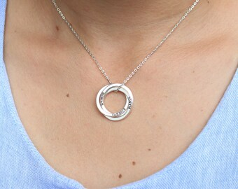 Personalized Linked Circle Necklace - Custom Linked Rings - Family Necklace - Personalized Minimalist Necklace - Engraved Jewelry