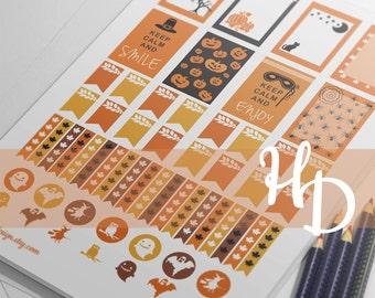 Halloween Stickers, Printable Planner Stickers, Instant Digital Download, set 1, EC, Kikki-k, Filofax