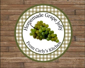 Personalized Canning Jar Labels - Grape Jelly Labels - Grape Jam - Homemade Jam Labels - Mason Jar Labels - Gingham Labels